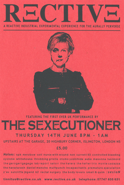 Flyer for the one and only 'The Sexecutioner' performance.