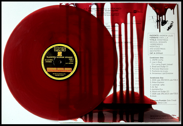 'Septic Scabs' version, pressed on a dark red coloured vinyl. Edition of 41 copies.