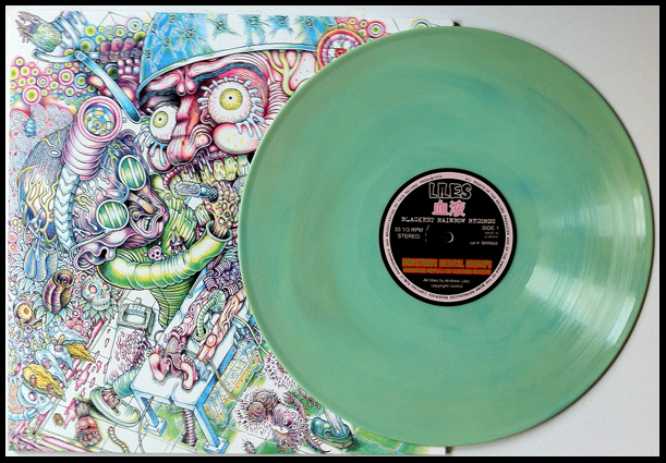 'Abnormal Urine' version, pressed on a slightly marbled teal coloured vinyl. Edition of 51 copies.